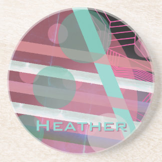 Personalized/Pink & Turquoise/Abstract Design Coaster
