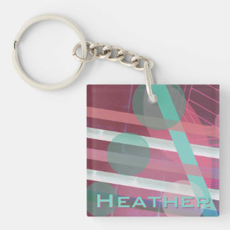 Personalized/Pink & Turquoise/Abstract Design Keychain