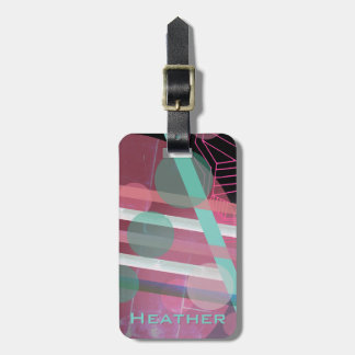 Personalized/Pink & Turquoise/Abstract Design Luggage Tag
