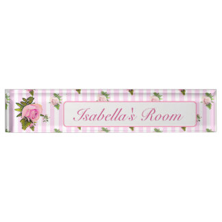 Personalized Pink Vintage Rose Baby Nursery Name Name Plate