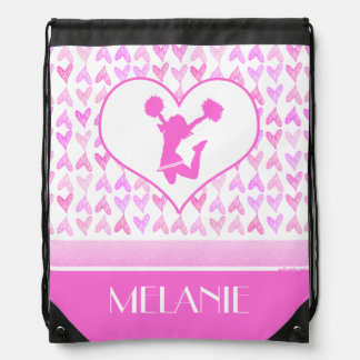 Personalized Pink Watercolor Hearts Cheer or Pom Drawstring Bag