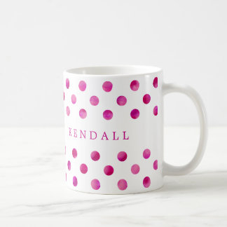 Personalized Pink Watercolor Polka Dots Coffee Mug
