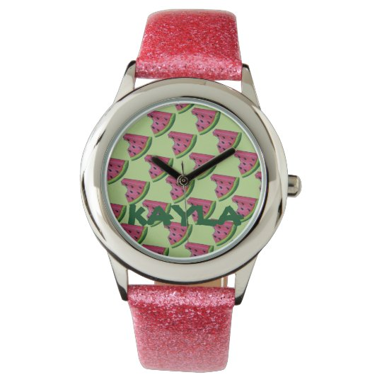 Personalized Pink Watermelon Fruit Slice Watch