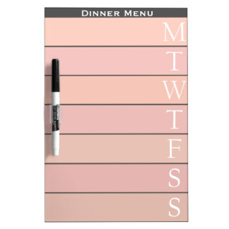 Personalized Pink Weekly Dinner Menu Dry Erase Board