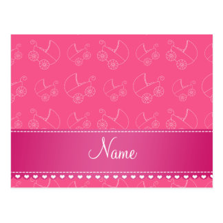 Personalized pink white baby carriages postcard
