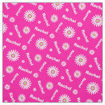 Personalized pink white daisy name pattern fabric