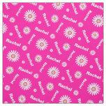 Personalized pink white daisy name pattern fabric