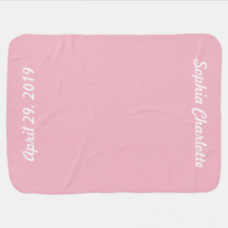Personalized Pink White Name Date Baby Girl Baby Blanket