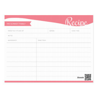 Personalized Pink & White Recipe Card Postcard