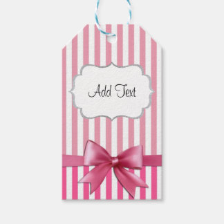 Personalized Pink & White Striped Sticker with Bow Pack Of Gift Tags