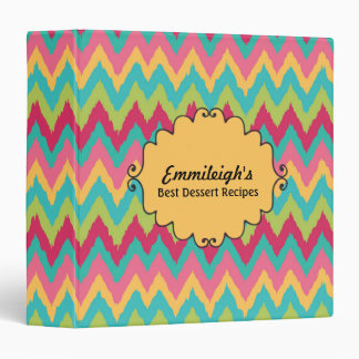 Personalized Pink Yellow Teal Green Chevron Binder