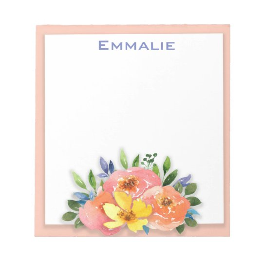 Personalized Pink Yellow White Floral Notepad