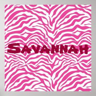 Personalized Pink Zebra Stripes Wild Animal Print