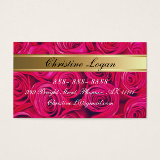 Personalized PinkRoses Business Cards, 100 pack Business Card
