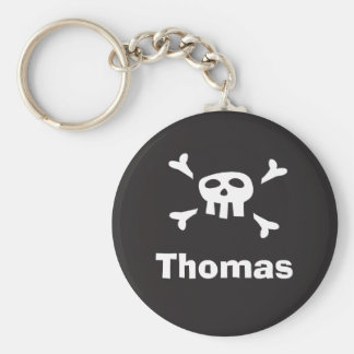 Personalized pirate party favor keychain, skull keychain