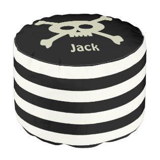 Personalized Pirate Skull Stripe Sturdy Round Pouf