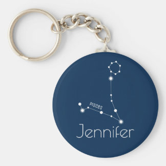 Personalized Pisces Zodiac Constellation Keychain