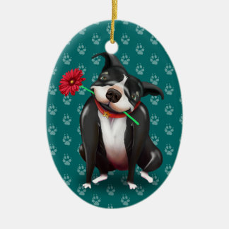 Personalized Pitbull Christmas Ornaments | Blue
