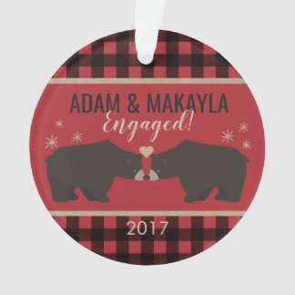 Personalized Plaid Acrylic Engagement Ornament