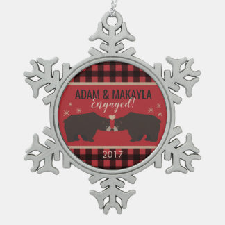 Personalized Plaid Engagement Ornament