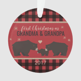 Personalized Plaid Grandparent's Acrylic Ornament