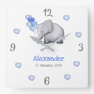 Personalized Poetic Baby Balloons Elephant Nursery Square Wall Clock