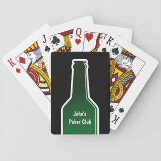 Personalized poker playing cards with beer bottle