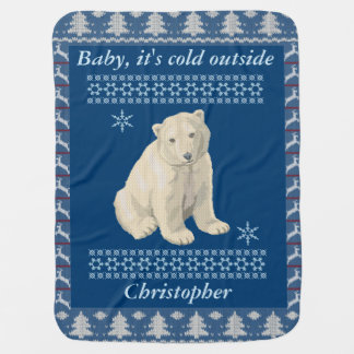 Personalized Polar Bear Snowflake Ugly Sweater Swaddle Blankets