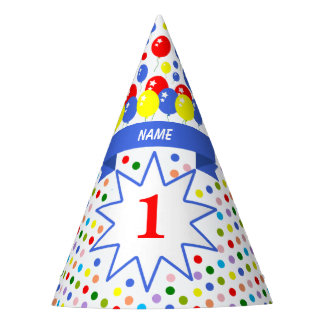 Personalized Polka Dot Colorful Birthday Party Hat