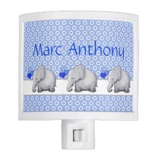 Personalized Polka Dots Elephant Nursery Baby Boy Nite Light