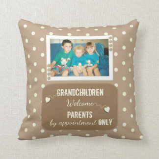 Personalized  Polka dots grandparents photo Throw Pillow