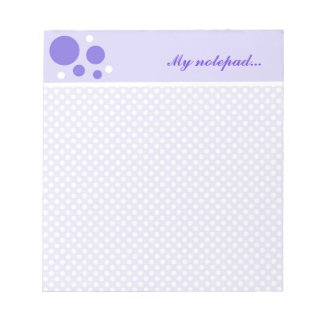Personalized Polka Dots Notepads:Purple White Dots Notepad