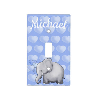 Personalized Polka Hearts Elephant Boy Nursery Light Switch Cover
