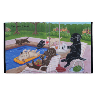 Personalized Pool Party Labradors 2 Painting iPad Folio Cover