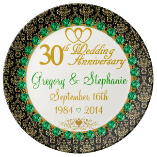 Personalized Porcelain 30th Anniversary Plate