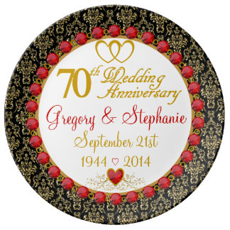 Personalized Porcelain 70th Anniversary Plate