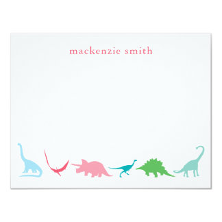 Personalized Preppy Dinosaur Thank You Stationery Card