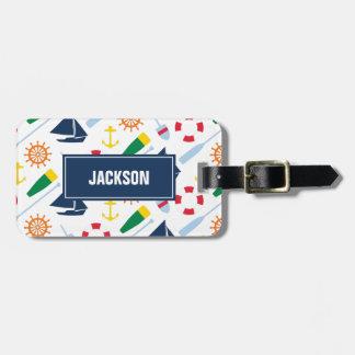 Personalized Preppy Nautical Pattern Boy Bag Tag