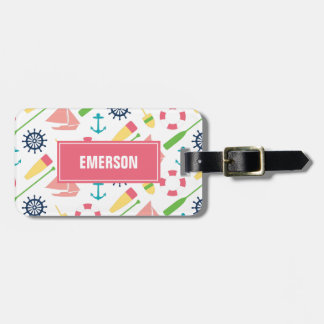 Personalized Preppy Nautical Pattern Girl Luggage Tag