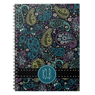 Personalized Pretty as a Peacock Paisley Print Spiral Note Book
