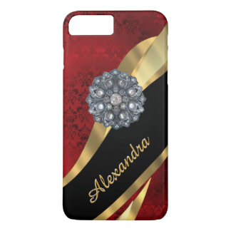 Personalized pretty elegant red damask pattern iPhone 7 plus case