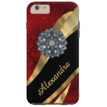 Personalized pretty elegant red damask pattern tough iPhone 6 plus case