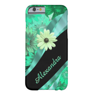Personalized pretty green floral pattern barely there iPhone 6 case