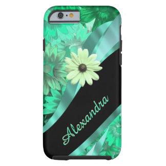Personalized pretty green floral pattern tough iPhone 6 case