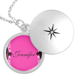 Personalized Pretty in Pink Round Locket Necklace