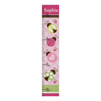 Personalized Pretty Ladybugs w/dots Growth Chart
