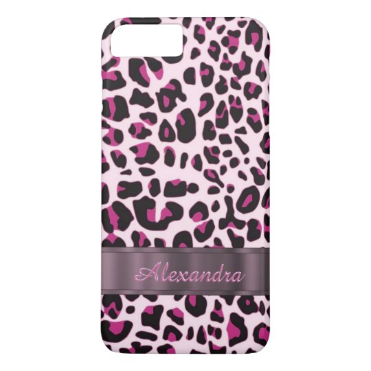 Personalized pretty leopard animal print iPhone 7 plus case