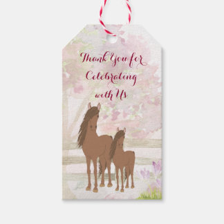 Personalized Pretty Mare, Foal and Flowers Horse Gift Tags