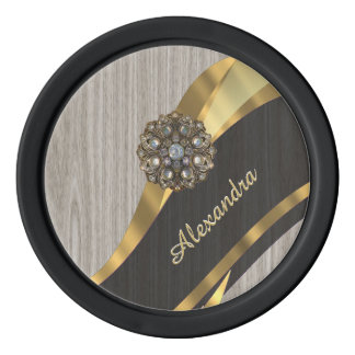 Personalized pretty modern faux wood grain set of poker chips