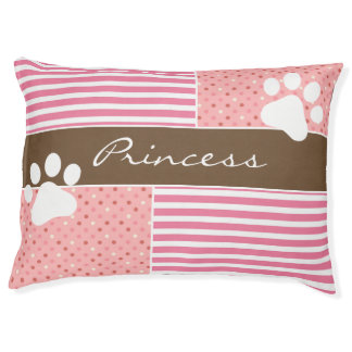 Personalized Pretty Pink & Brown Pet Bed